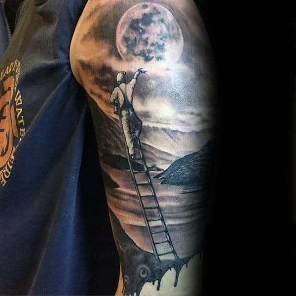 Man On Ladder Reaching For Moon Landscape Mens Half Sleeve Tattoos