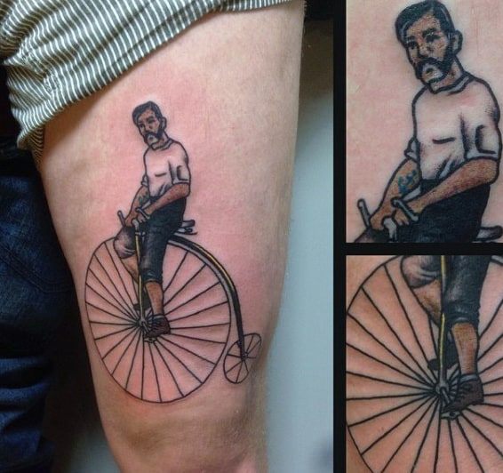 Man On Vintage Farthing Bicycle Tattoo On Arms For Males