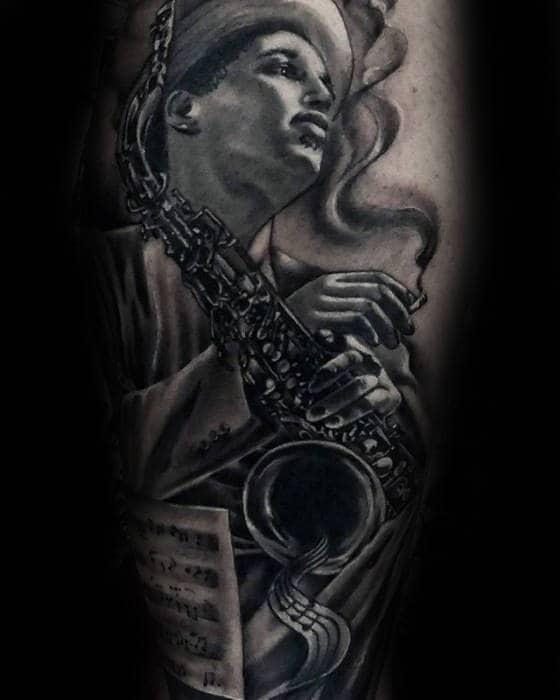 Man Playing Saxophone Guys Leg Tattoos