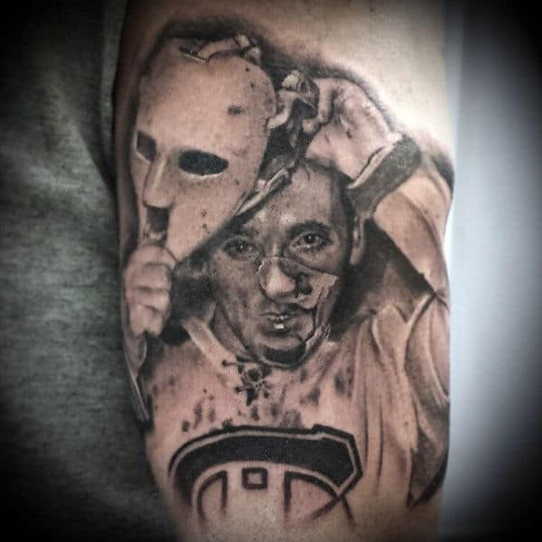 Man Removing Hockey Mask Guys Arm Tattoo