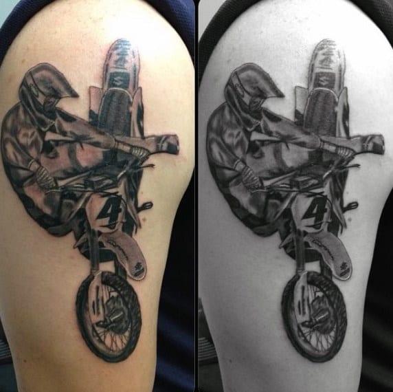 Man Riding Dirt Bike Cool Motocross Guys Tattoo On Upper Arm