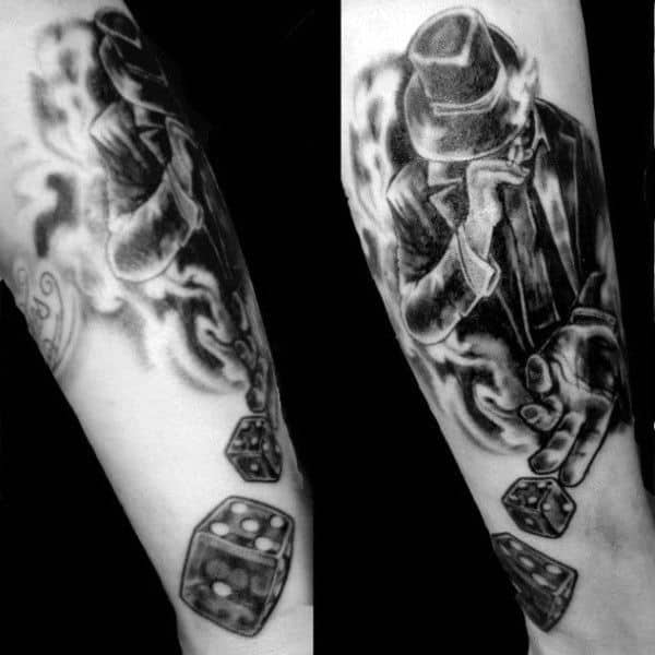 Man Rolling Dice Tattoo In Black In On Write