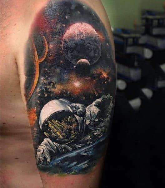 Man Shoulder Cosmonaut In Space Tattoo