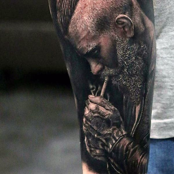 Man Smoking Black Ink Half Sleeve Realistic Tattoo