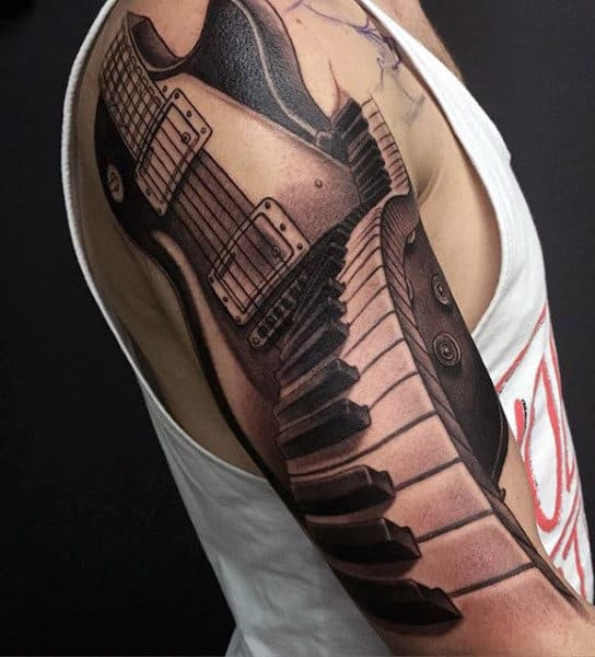 Man Tattoos Guitars Full Sleeve