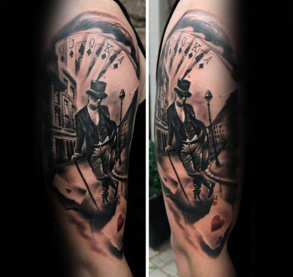 Man Walking City Street With Playing Cards Mens Upper Arm Tattoo
