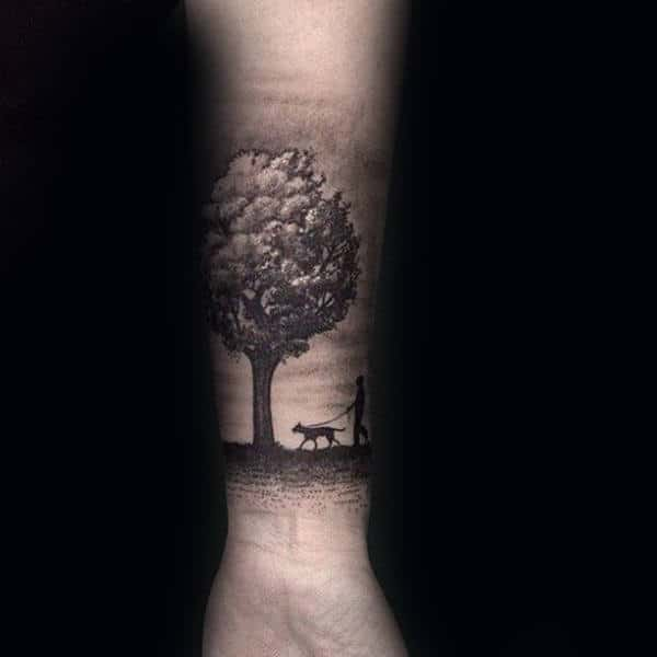 Man Walking Dog Under Tree Mens Forearm Tattoos