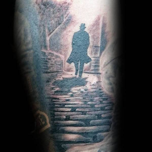 Man Walking Down Cobblestone Street Silhouette Sleeve Tattoos For Guys