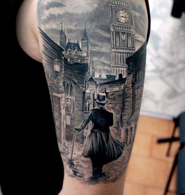 Man Walking Street Of City Mens Building Half Sleeve Tattoo