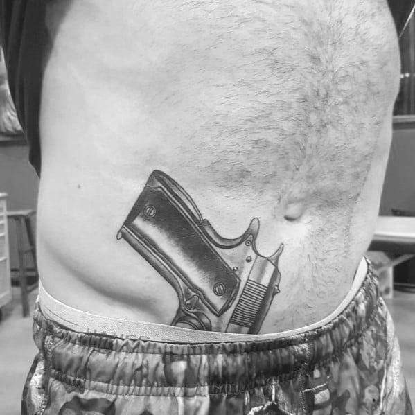 Man With 1911 Tattoo Design Hip