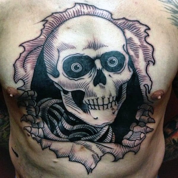 Man With 3d Skeleton Amazing Chest Tattoo Design