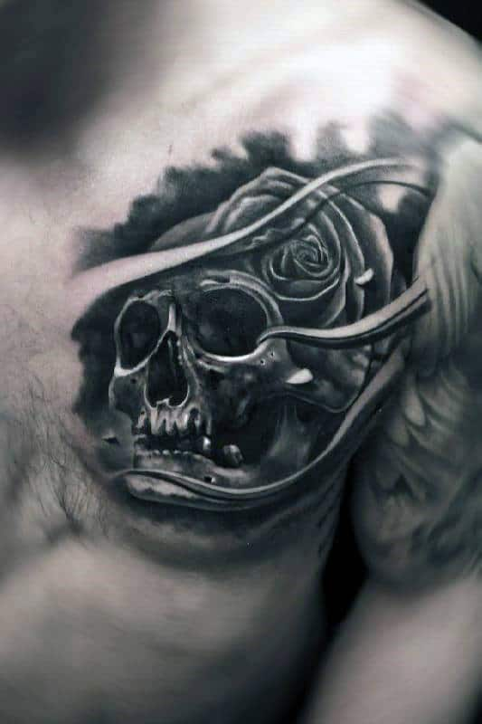 Man With 3d Skull Rose Flower Upper Chest Tattoo Design