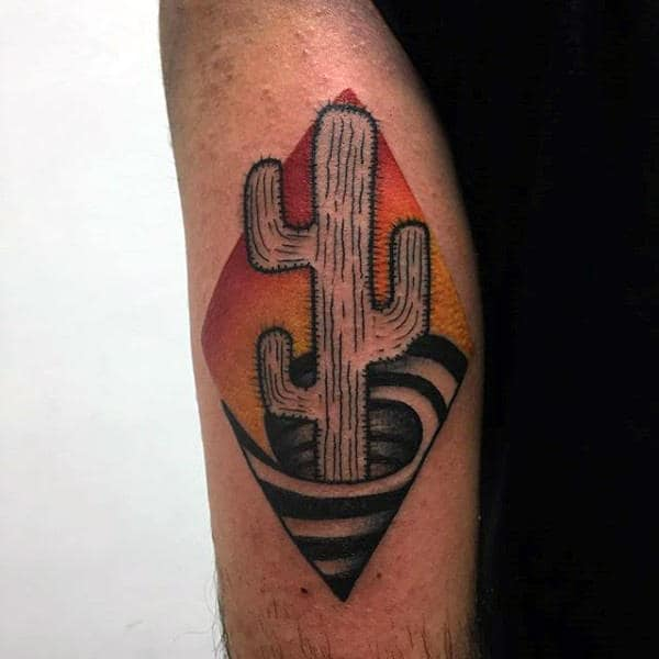Man With 3d Spiral Cactus Red And Yellow Ink Sunset Tattoo