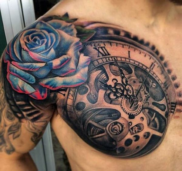 Man With 3D Tattoo On Chest And Shoulder
