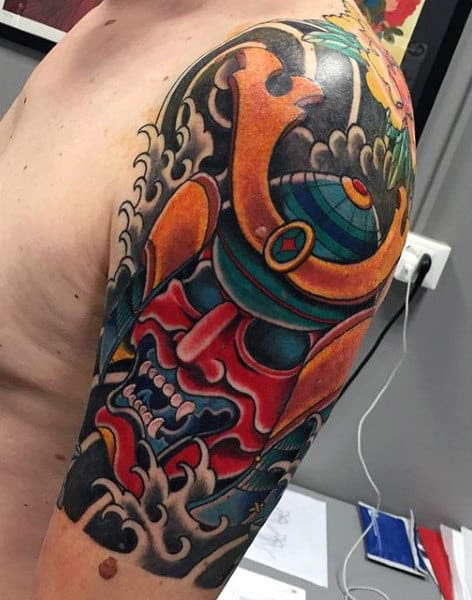 Man With Abstract Colorful Samurai Mask Half Sleeve Tattoo