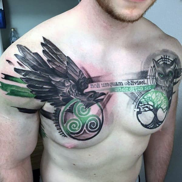 Man With Abstract Crow And Owl Chest Tattoo Design