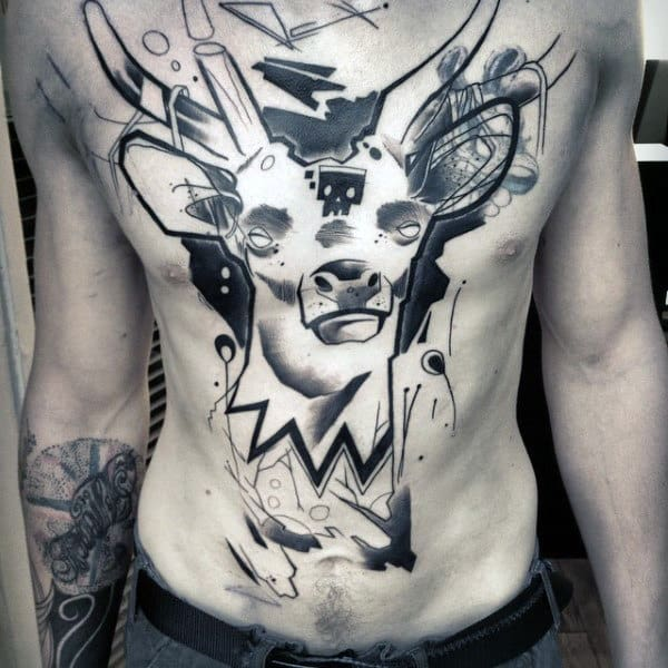 Man With Abstract Deer Watercolor Graffiti Tattoo On Chest
