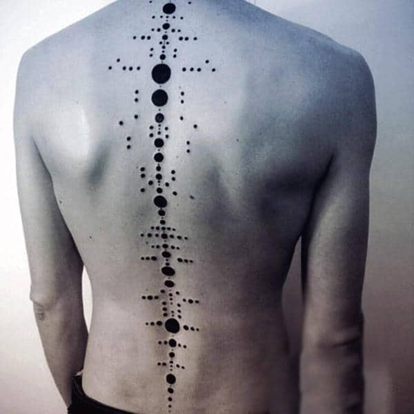 Man With Abstract Geometric Dotwork Spine Tattoo