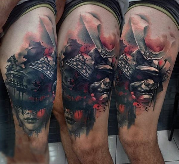 Man With Abstract Japanese Scene Tattoo Of Samurai Mask And Woman On Thigh
