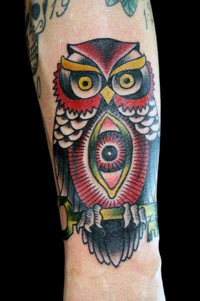 Man With All Seeing Eye Owl Traditional Tattoo Design