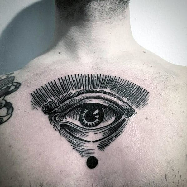 Man With All Seeing Eye Upper Back Tattoo Design