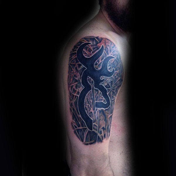 Man With Amazing Browning Camo Black Ink Half Sleeve Tattoo