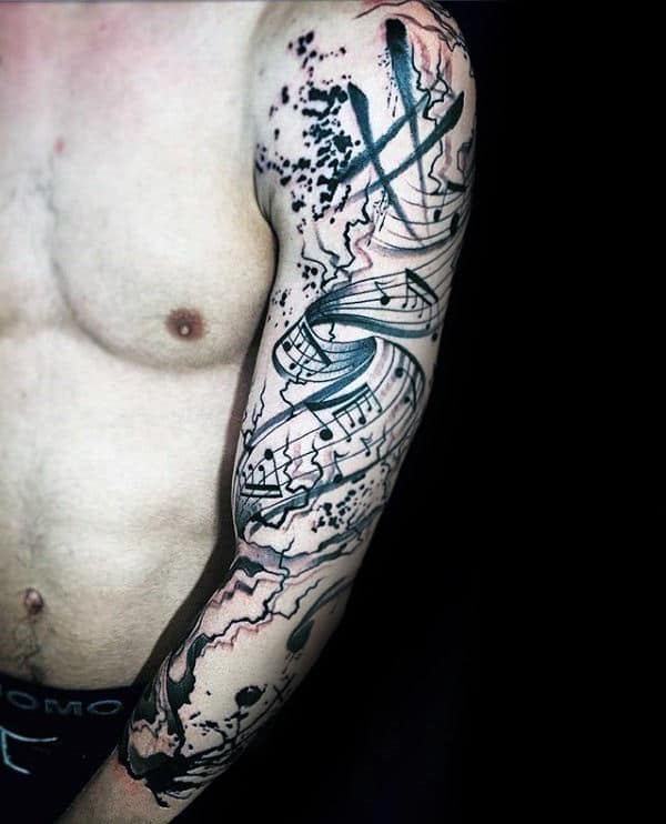 Man With Amazing Music Note Watercolor Full Arm Tattoo