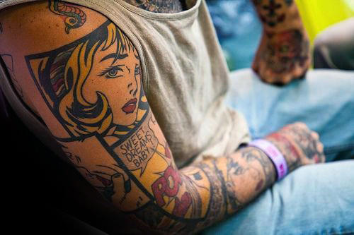 Man With Amazing Pop Art Full Tattoo Sleeve
