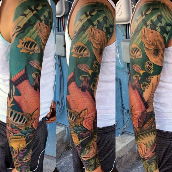 Man With Angel Fish Tattoo Sleeve