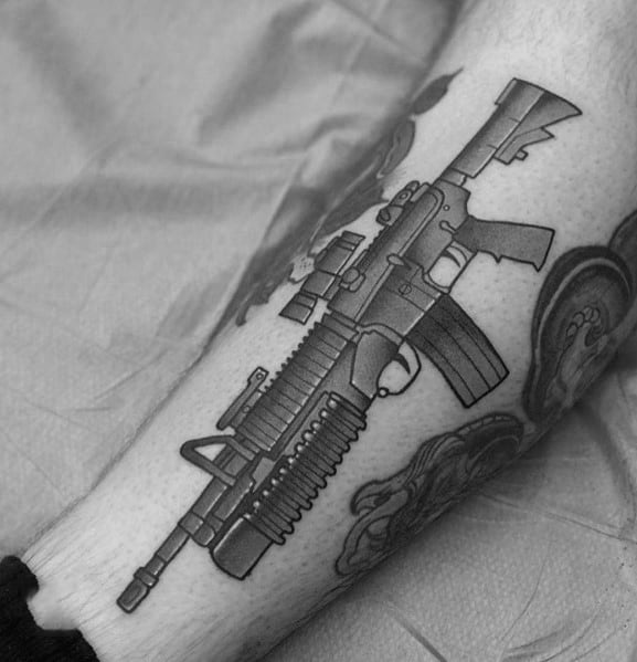 Man With Ar 15 Tattoo Design
