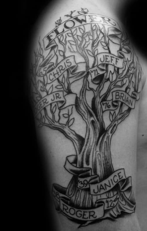 Man With Arm Family Tree Tattoo