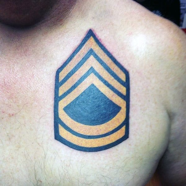 Man With Army Rank Badge Upper Chest Tattoo