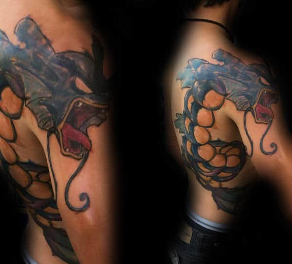 Man With Awesome Gyarados Shoulder Tattoo