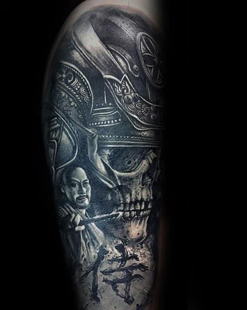 Man With Awesome Samuari Helmet Skull Half Sleeve Tattoo