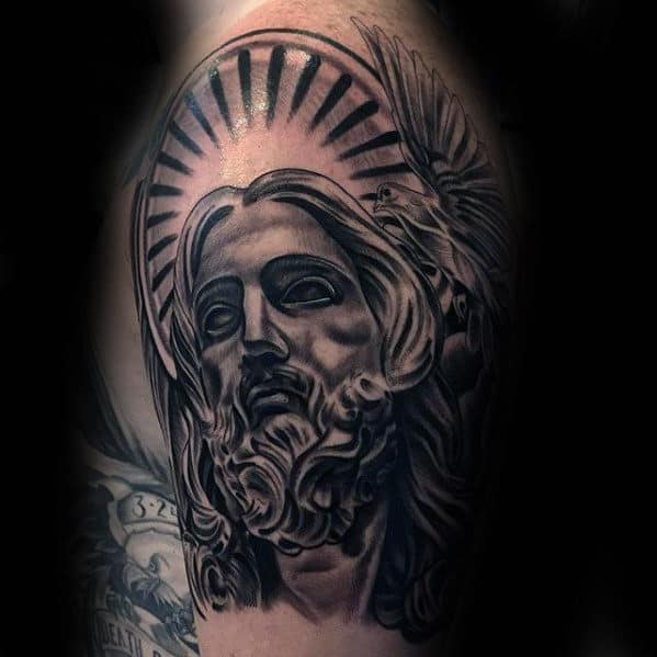 Man With Awesome Shaded Jesus Arm Tattoo