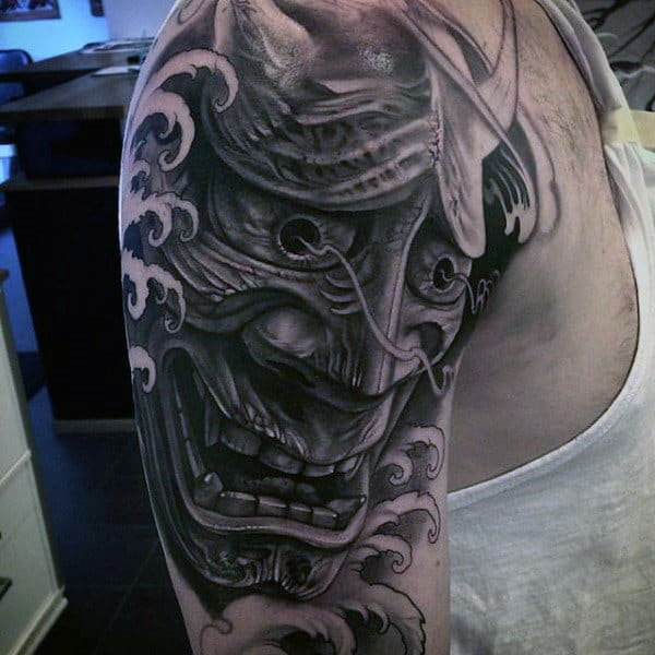 Man With Awesome Tattoos Of Japanese Samurai Mask Half Sleeve With Black And Grey Ink