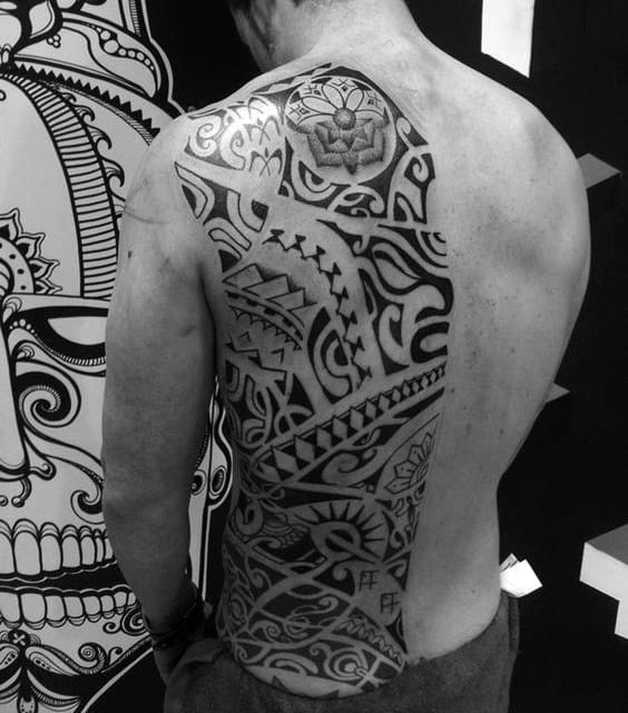 Man With Back Tribal Tattoos
