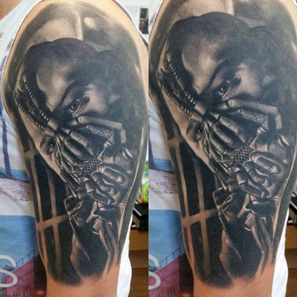 Man With Bane Half Sleeve Tattoo