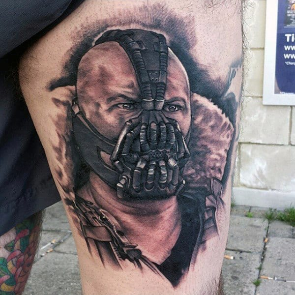 Man With Bane Thigh Tattoo