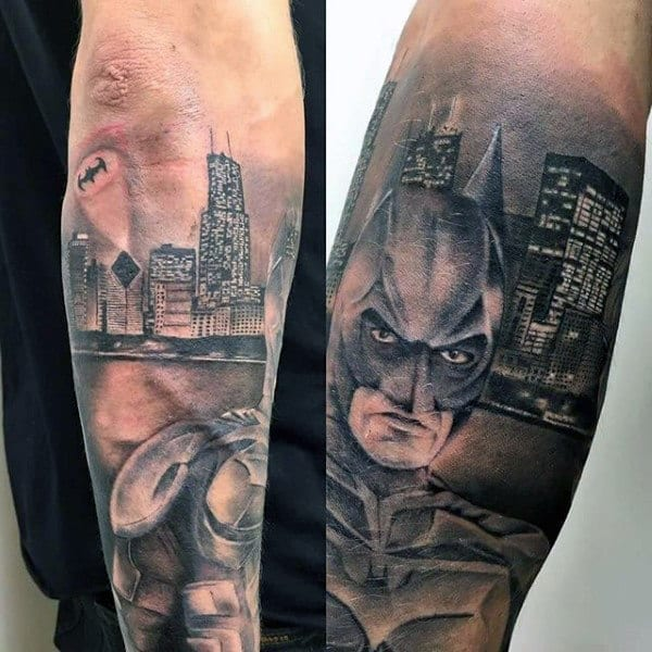 Man With Batman Arm Tattoos