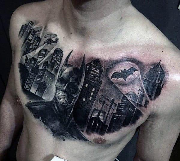 Man With Batman Chest Tattoo
