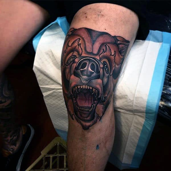Man With Bear Knee Tattoo Neo Traditional Design Ideas