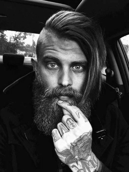 Man With Beard And Long Undercut Hairstyle