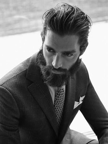 Man With Beard And Thick Slicked Back Classy Hairstyle