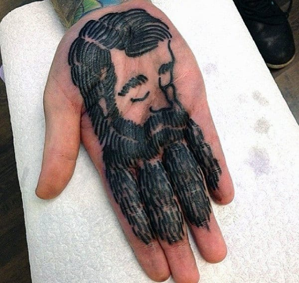 Man With Beard Unique Male Palm Tattoos