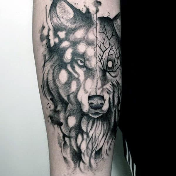 Man With Beast Watercolor Tattoo On Arm