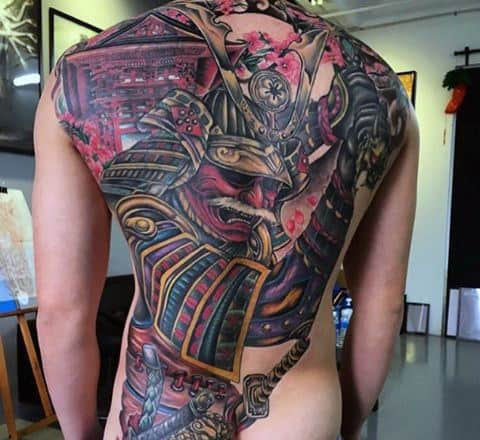 Man With Beautiful Japanese Scene Samurai And House Full Back Tattoo