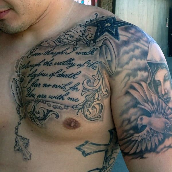 50 bible verse tattoos for men scripture design ideas for Religious chest tattoos