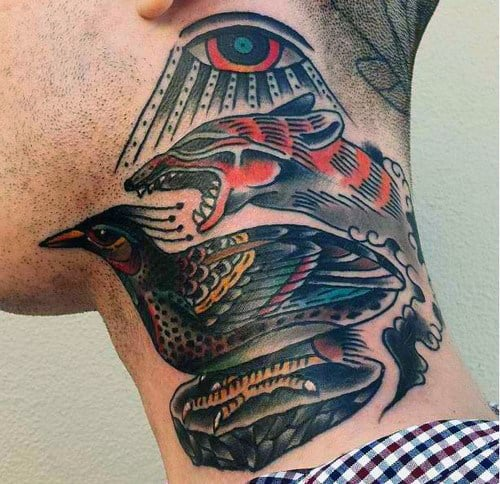 Man With Bird Fox And Eye Traditional Neck Tattoos