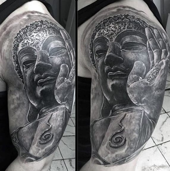 Man With Black Japanese Buddha Tattoo On Arms